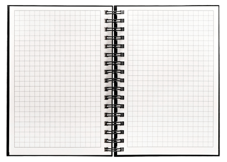 Notebook with spiral binder and math paper. Open book on white background Stock Photo