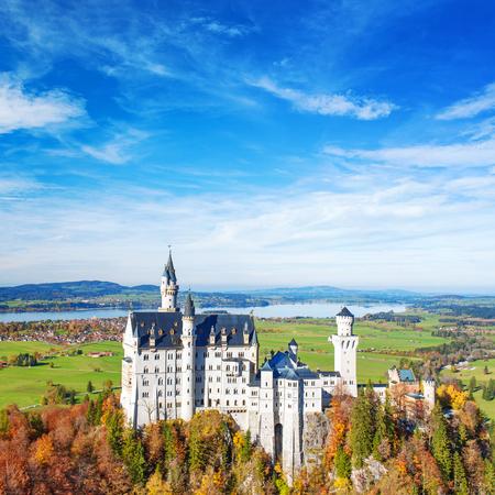 neuschwanstein: Neuschwanstein Castle in case. Landmark of Germany and Bavaria. Editorial