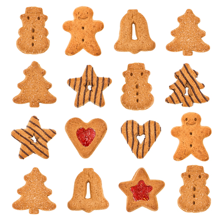 white backing: Christmas cookies isolated on white background. Sweet food background decorations Stock Photo