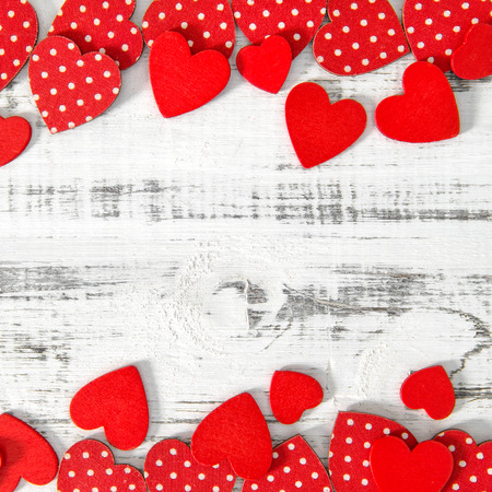 Red hearts. Romantic Valentines Day background