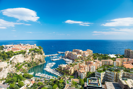 Panoramic view Monaco, Fontvieille, new district of Monaco with marina and harbor. Mediterranean sea, french riviera