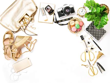 Feminine Accessories, Bag, Shoes, Office Supplies, Phone And Green Plant On  White
