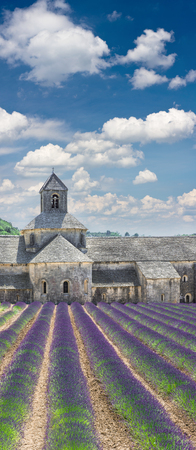 French landscape with medieval castle and cloudy blue sky. Lavender field in Senanque Provence France