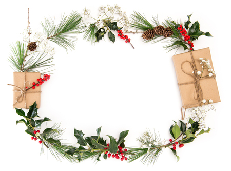 Christmas decoration with gifts, branches, cones on white background. Floral flat lay banner