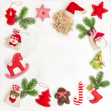 Christmas decoration and gift bags. Holidays background. Flat lay frame Stock Photo