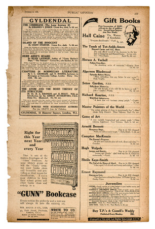Newspaper page with english text and advertisement. Vintage magazine from 1923