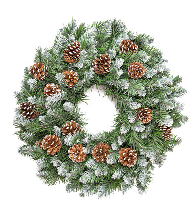 Christmas decoration evergreen pine wreath with cones isolated on white background