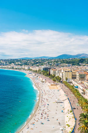 Nice city, Promenade des Anglais, Cote dAzur, French riviera, Mediterranean sea landscape
