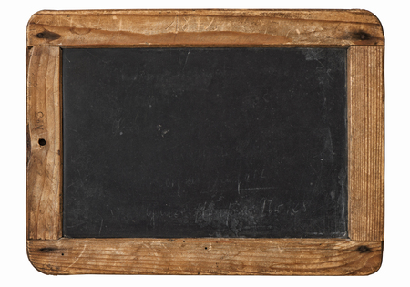 Vintage chalkboard with wooden frame isolated on white background Stock Photo