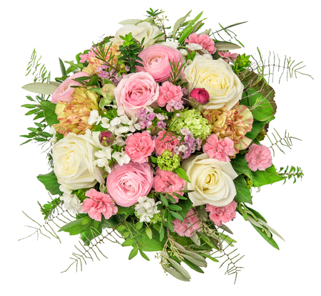 Flowers bouquet isolated on white background. Rose, ranunculus, carnation flower. Floral decoration Stockfoto