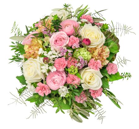 Flowers bouquet isolated on white background. Rose, ranunculus, carnation flower. Floral decoration Standard-Bild