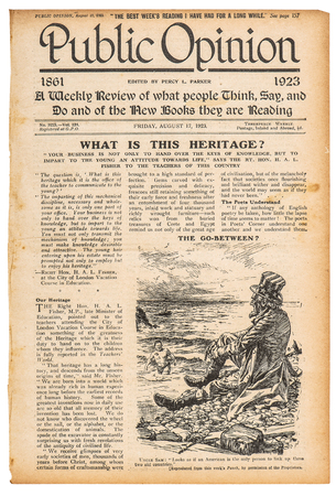 Newspaper page with english text and advertisement. Used paper background. Vintage magazine from 1923 Stock Photo