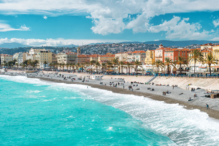 View of Nice city, Promenade des Anglais, French riviera, Mediterranean sea, Cote d'Azur