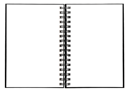 Notebook with spiral binder. Open book on white background Фото со стока