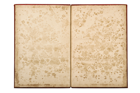 Open old book isolated on white background. Paper pages with stains