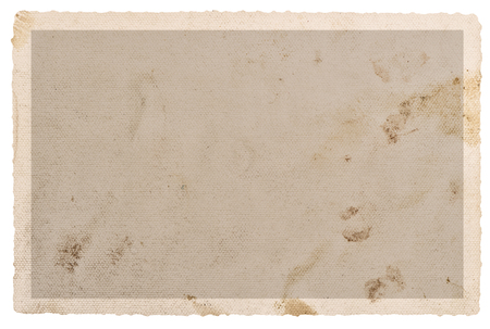 Textured paper photo card with stains and edges isolated on white background Stock Photo