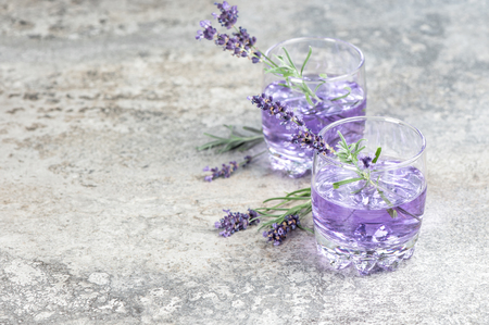 Lavender drink. Summer tonik lemonade. Still life with copy space 写真素材