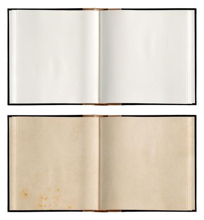 Livre ouvert avec des pages de papier vierges blanches et utilisées isolées Banque d'images