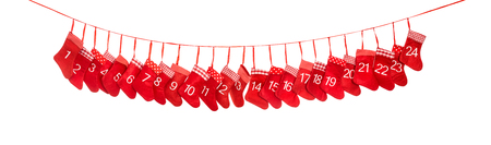 Advent calendar 1-24. Christmas socks on white background. Red decoration