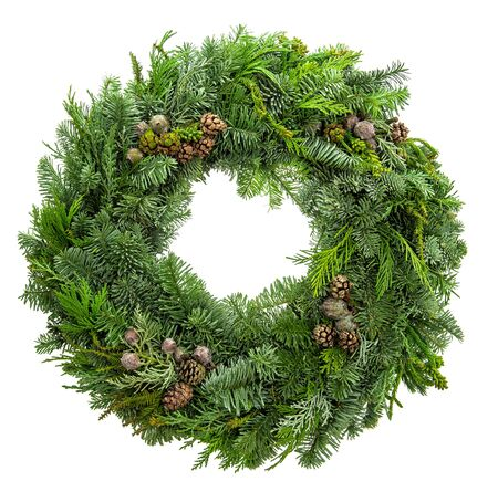 Christmas decoration wreath from fir, pine and spruce twigs with cones