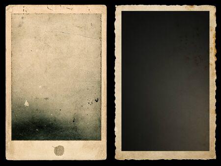 Old paper photo frames on black background. Used vintage cardboard Stock fotó