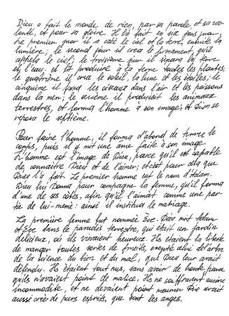 Handgeschriebener unleserlicher Text mit französischen Wörtern. Handschrift. Kalligraphie. Unterschrift. Brief. Abstrakter Texturhintergrund Standard-Bild