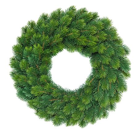Decoración de Navidad corona de hoja perenne aislado fondo blanco. Foto de archivo