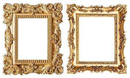 Golden picture frame baroque style. Vintage art object isolated on white background Stockfoto