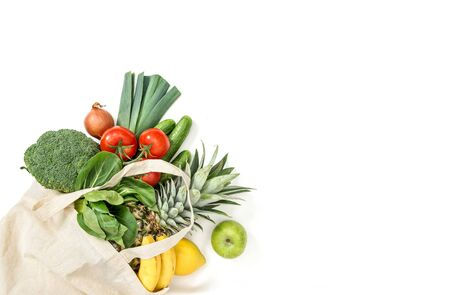 Healthy food. Fresh organic fruits vegetables. Tomato, cucumber, salad, broccoli, onion, apple, banane, pineapple