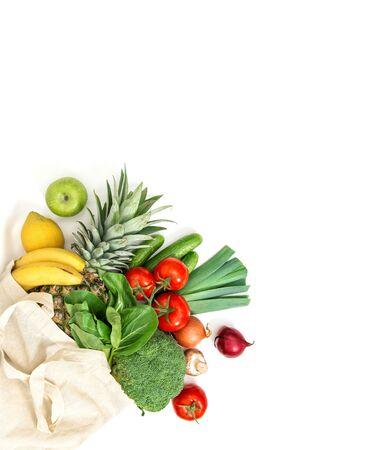 Fresh fruits vegetables. Healthy food. Tomato, cucumber, salad, apple, banane, pineapple, broccoli, onion Standard-Bild