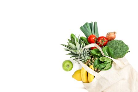 Healthy food. Fresh fruits and vegetables in cotton bag