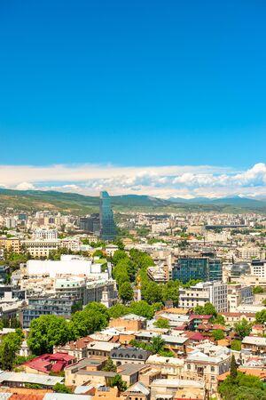Cityscape of Tbilisi, Tiflis, Georgia, Caucasus. Landscape with beautiful blue sky