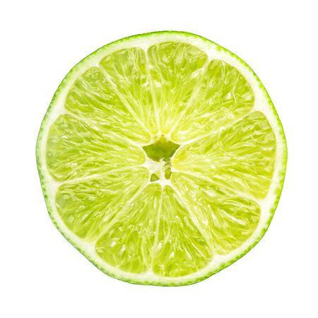 Lime fruit slice isolated on white background