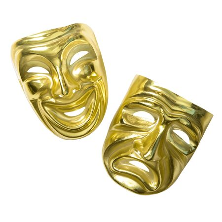 Comedy and tragedy mask. Theatrical masks isolated on white background