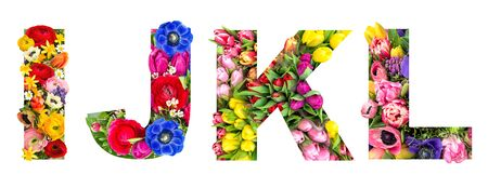 Letter I J K L. Floral lettering. Alphabet from flower heads bouquet isolated on white background 免版税图像