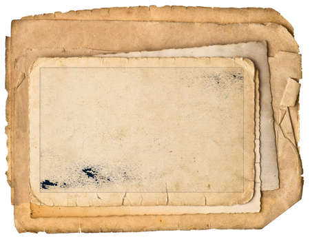 Old photo frame with field for your picture, image. Used grungy paper sheets