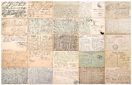Vintage used paper texture background. Antique postcards. Old handwritten undefined texts from ca.1900.