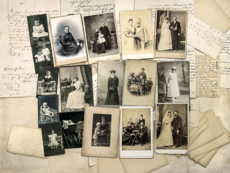 Antique photos, old handwritten letters. Family tree. Parents, grandfather, grandmother, children. Nostalgic vintage pictures from ca.1900 Publikacyjne