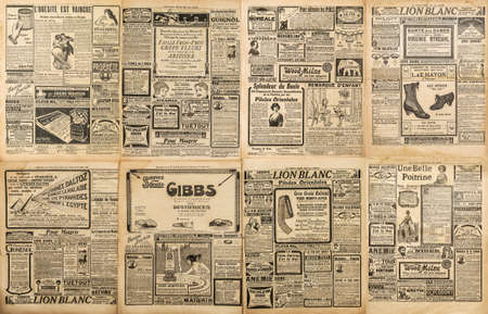 Old newspaper page with vintage lettering engraving advertising. Used paper background Editorial