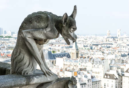 Stone demon gargoyle with city of Paris on background. View from the tower of the Notre Dame