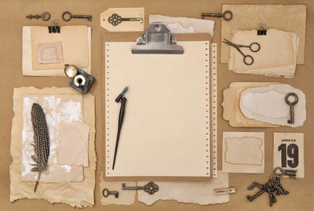 Paper, clipboard, scrapbooking and writing tools. Vintage flat lay with ink pen Stock fotó - 155426030