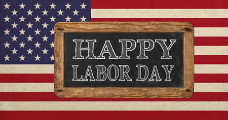 Vintage american flag and chalkboard. Happy labor day Reklamní fotografie