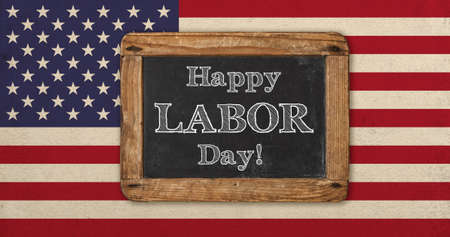 Happy labor day! Old designed vintage american flag and chalkboard for text