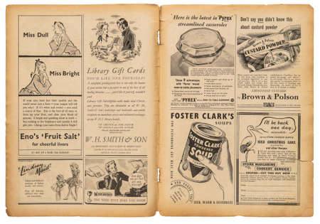 Newspaper page with english text and vintage advertising pictures. Old british magazine from 1947 Stock fotó