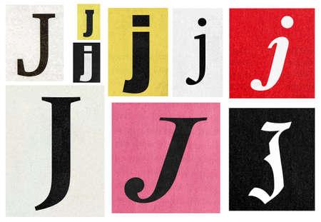 Paper cut letter j. Newspaper magazine cutouts collage