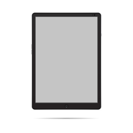 Black Tablet with gray screen one isolated objekt Illustration