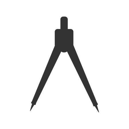 silhouette of compasses geometric tool black isolated object.