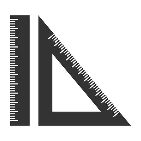 setsquare: silhouette ruler and setsquare. Geometry object black. Illustration