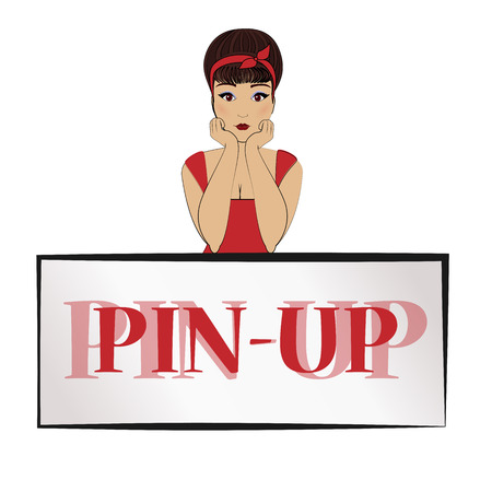 hair dressing: Girl in pin-up style in a red dress with a bandage on her hair. He leans his elbows on the banner. mockup