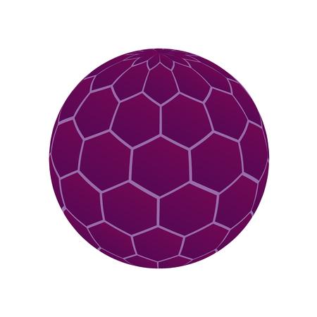 Unusual purple ball. dispute the virus molecule cage. Isolated object. Illustration